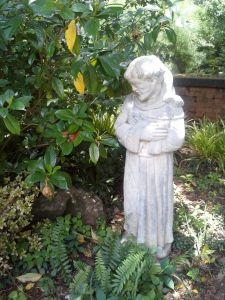 St. Francis surrounded by lush greenery